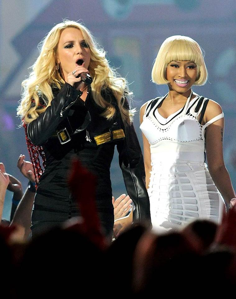 """MediaTakeOut reveals that Britney Spears and Nicki Minaj are constantly """"butting heads during their 'Femme Fatale' tour"""" and recently had a backstage """"girlfight."""" A few days ago, after Minaj's performance ran nearly 45 minutes too long -- encroaching on Spears' time -- Spears got in Minaj's face and started """"talking s**t."""" For how explosive it's become between the two singers, see what even a Spears pal admits to <a href=""""http://www.gossipcop.com/mediatakeout-britney-spears-nicki-minaj-fight-feud-fighting-catfight/"""" target=""""new"""">Gossip Cop</a>. Ethan Miller/<a href=""""http://www.gettyimages.com/"""" target=""""new"""">GettyImages.com</a> - May 22, 2011"""