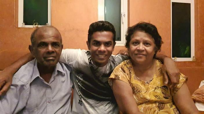 Gan Sungaralingum is reunited with his father, Gassen and mother, Sheela, after he spent 170 days stuck at sea on three different Princess Cruises ships, trying to get back home to the island of Mauritius.