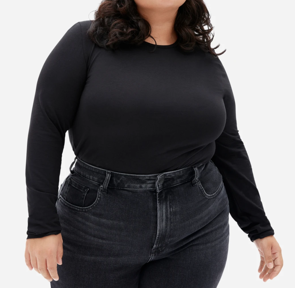 Everlane Women's Pima Stretch Long-Sleeve in Black