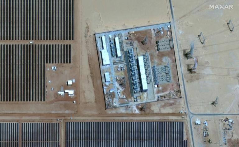 This handout satellite imagery released by Maxar Technologies on May 20, 2021 shows a view of the power substation at the Benban Solar Park in Egypt. The $4 billion World Bank-funded project is the fourth largest solar park in the world (AFP/-)