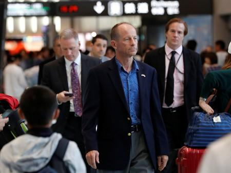 U.S. Assistant Secretary of State for East Asian and Pacific Affairs David Stilwell arrives at Narita international airport in Narita