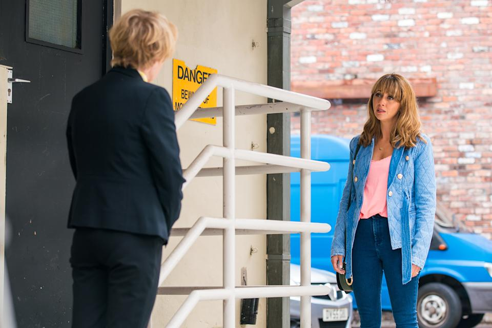 FROM ITV  STRICT EMBARGO - No Use Before Tuesday 17th August 2021  Coronation Street 10412  Wednesday 25th August 2021 - 1st Ep  Sally Metcalfe [SALLY DYNEVOR] is chuffed when Maria Connor [SAMIA LONGCHAMBON]  tells her she was wrong for dismissing her concerns about the parking problem and volunteers to support her campaign.      Picture contact David.crook@itv.com   Photographer - Danielle Baguley  This photograph is (C) ITV Plc and can only be reproduced for editorial purposes directly in connection with the programme or event mentioned above, or ITV plc. Once made available by ITV plc Picture Desk, this photograph can be reproduced once only up until the transmission [TX] date and no reproduction fee will be charged. Any subsequent usage may incur a fee. This photograph must not be manipulated [excluding basic cropping] in a manner which alters the visual appearance of the person photographed deemed detrimental or inappropriate by ITV plc Picture Desk. This photograph must not be syndicated to any other company, publication or website, or permanently archived, without the express written permission of ITV Picture Desk. Full Terms and conditions are available on  www.itv.com/presscentre/itvpictures/terms