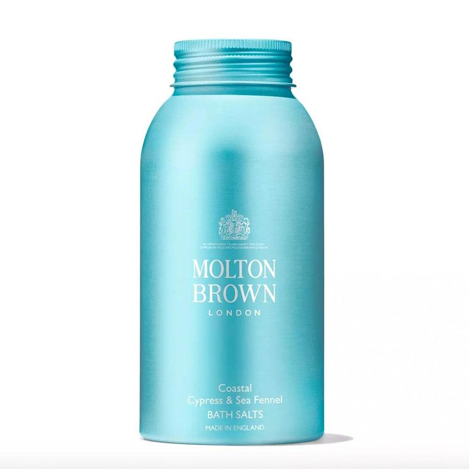"<p>Even if your day leans towards showers, he may convert to a bath lover after easing himself into a warm tub filled with these quick-dissolving Cypress & Sea Fennel Bath Salts from Molton Brown for <a href=""https://www.allure.com/gallery/best-bath-salts-soaks?mbid=synd_yahoo_rss"" rel=""nofollow noopener"" target=""_blank"" data-ylk=""slk:a stress-busting soak"" class=""link rapid-noclick-resp"">a stress-busting soak</a>. The fig leaves, cardamom, cedarwood, and salted cypress essential oils elevate the bathing experience into something out of this world. </p> <p><strong>$30</strong> (<a href=""https://www.moltonbrown.com/store/bath-body/bath-salts-oils/coastal-cypress-sea-fennel-bath-salts/KGT226"" rel=""nofollow noopener"" target=""_blank"" data-ylk=""slk:Shop Now"" class=""link rapid-noclick-resp"">Shop Now</a>)</p>"