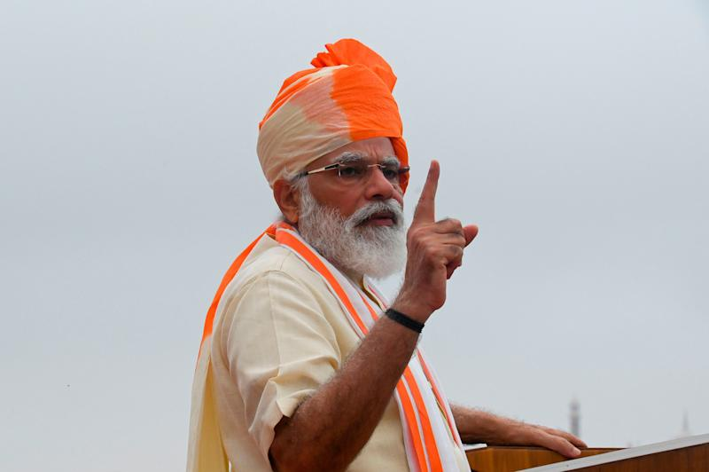India's Prime Minister Narendra Modi gestures as he delivers a speech to the nation during a ceremony to celebrate India's 74th Independence Day, which marks the of the end of British colonial rule, at the Red Fort in New Delhi on August 15, 2020. (Photo by Prakash SINGH / AFP) (Photo by PRAKASH SINGH/AFP via Getty Images) (Photo: PRAKASH SINGH via Getty Images)