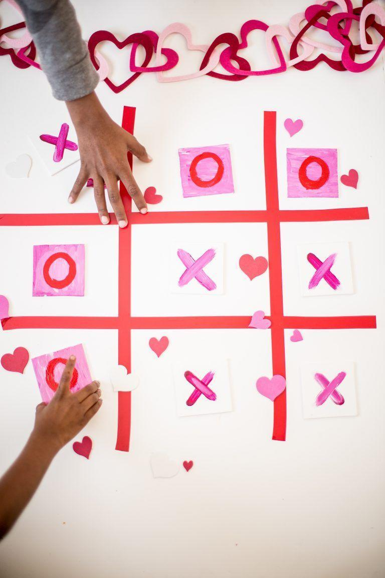 """<p>Some washi tape, paint and a few heart decorations come together to create and easy tic tac toe board that you can actually re-use. The paint gives it an artistic touch.</p><p><em><a href=""""https://justdestinymag.com/kid-friendly-valentines-tic-tac-toe-game/"""" rel=""""nofollow noopener"""" target=""""_blank"""" data-ylk=""""slk:Get the tutorial at Just Destiny »"""" class=""""link rapid-noclick-resp"""">Get the tutorial at Just Destiny » </a></em></p>"""