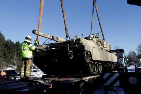 U.S. M1 Abrams tank which will be deployed in Latvia for NATO's Operation Atlantic Resolve is unloaded in Garkalne, Latvia February 8, 2017.  REUTERS/Ints Kalnins