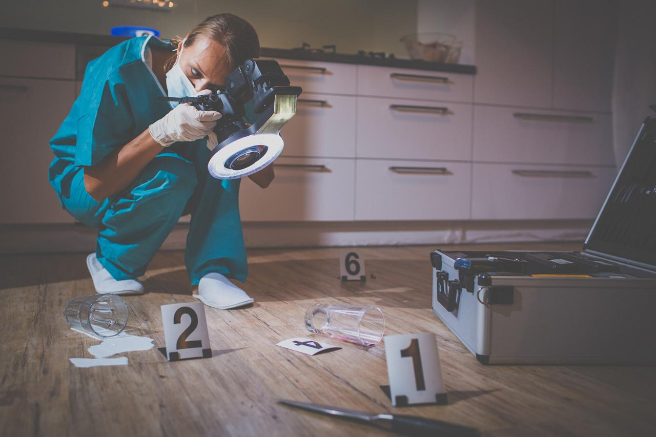 Median annual salary: $60,300. Here's a way to get your fill of bodily fluids and nerd out over fingerprints and fiber details. Like a coroner, you'll help solve cases. A bachelor's degree is typically required. (Getty)