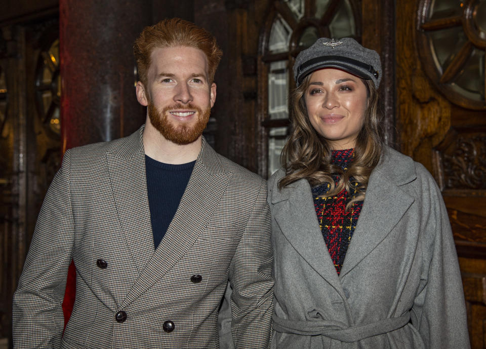 Neil and Katya Jones are seen attending the opening night of 'Notre Dame de Paris' at the London Coliseum in London. (Photo by Gary Mitchell/SOPA Images/LightRocket via Getty Images)