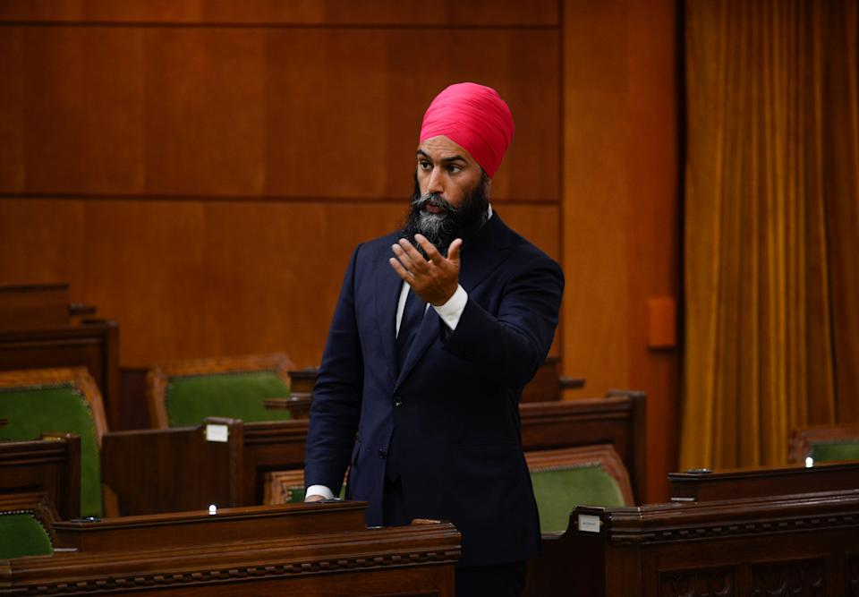 NDP Leader Jagmeet Singh asks a question in the House of Commons in Ottawa, on June 18, 2020. (Photo: Sean Kilpatrick/The Canadian Press)
