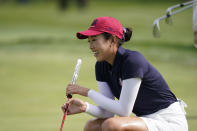 United States' Yealimi Noh during practice for the Solheim Cup golf tournament, Friday, Sept. 3, 2021, in Toledo, Ohio. (AP Photo/Carlos Osorio)