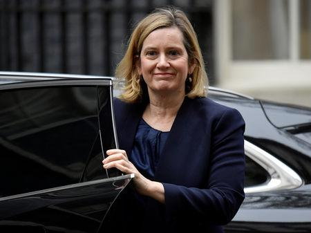 Britain's Work and Pensions Secretary, Amber Rudd, arrives in Downing Street, in central London