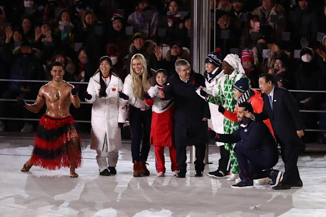 <p>President of the International Olympic Committee Thomas Bach and Lee Hee-beom, President & CEO of PyeongChang Organizing Committee stand on the stage with Lindsey Vonn of the United States, Pita Taufatofua of Tonga and Olympic athletes during the Closing Ceremony of the PyeongChang 2018 Winter Olympic Games at PyeongChang Olympic Stadium on February 25, 2018 in Pyeongchang-gun, South Korea. (Photo by Ryan Pierse/Getty Images) </p>