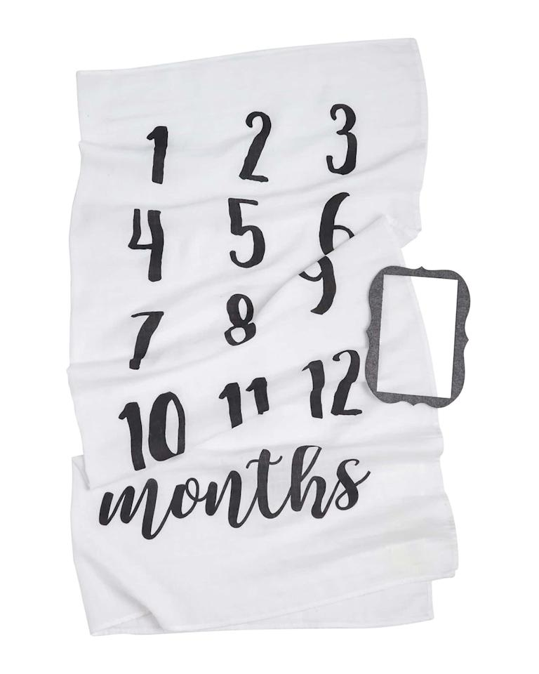 "<p>Keep track of baby's first year (and keep mom from having to craft her own custom sheet) with a monthly milestone blanket that's both simple and sweet. The machine-washable blanket is 100% cotton, while the felt frame sets baby up for a picture-perfect photo-op.</p> <p><strong>To buy: </strong>$23; <a href=""https://click.linksynergy.com/deeplink?id=93xLBvPhAeE&mid=1237&murl=http%3A%2F%2Fshop.nordstrom.com%2Fs%2Fmud-pie-monthly-milestone-blanket-frame-set-baby%2F4574410&u1=RS%2CGiftsforNewMoms%2Ctrowley805%2CGIF%2CIMA%2C627407%2C201908%2CI"" target=""_blank"">nordstrom.com</a>.</p>"