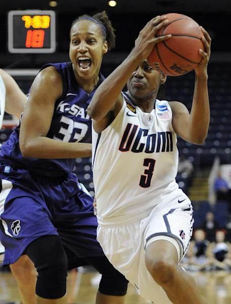 Connecticut's Tiffany Hayes (3) drives to the basket while guarded by Kansas State's Jalana Childs during the first half of an NCAA tournament second-round college basketball game in Bridgeport, Conn., Monday, March 19, 2012. (AP Photo/Jessica Hill)