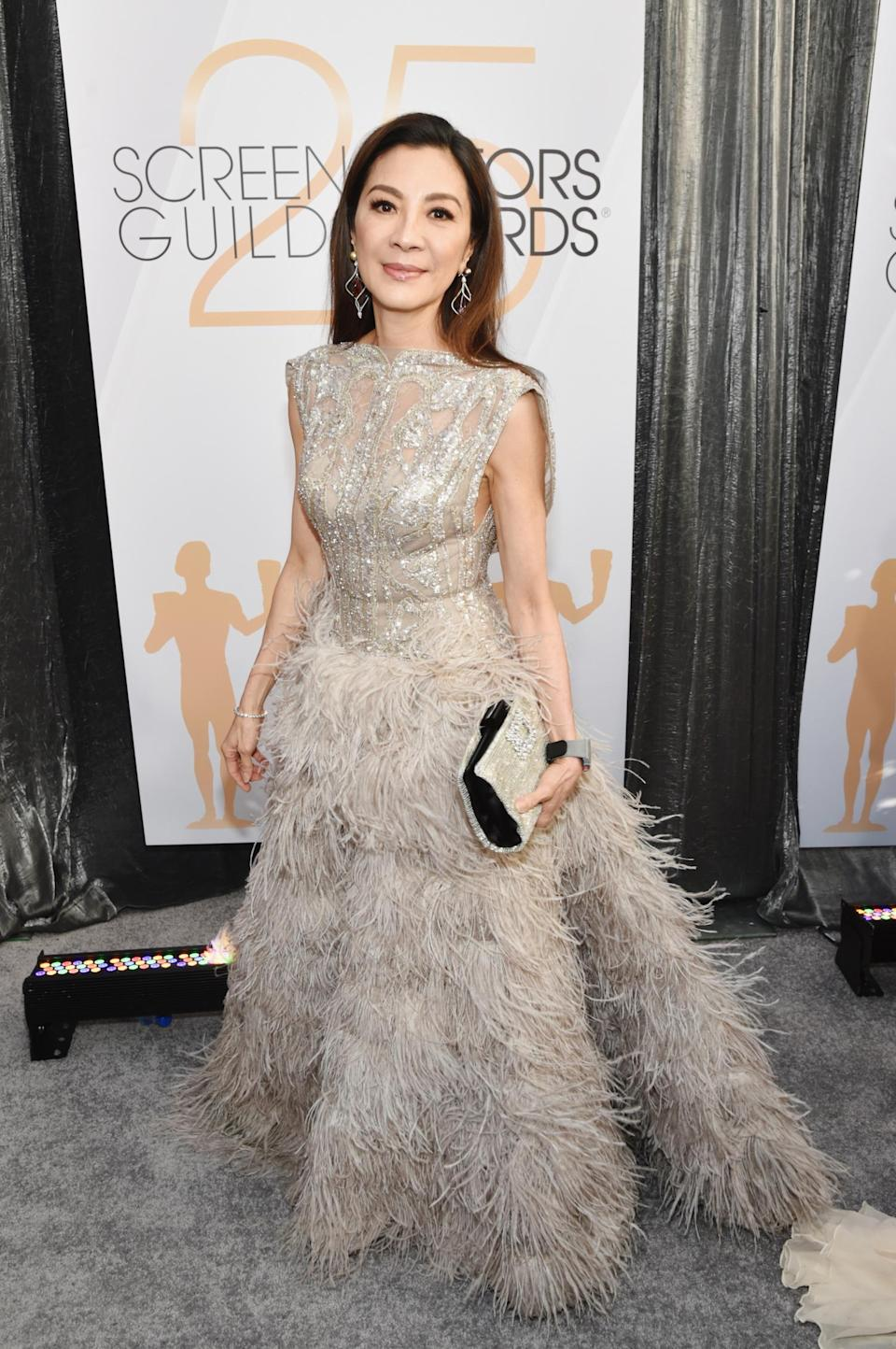 <p>Michelle Yeoh floated across the carpet at the 2019 Screen Actors Guild Awards in Los Angeles. (Photo: Getty Images) </p>