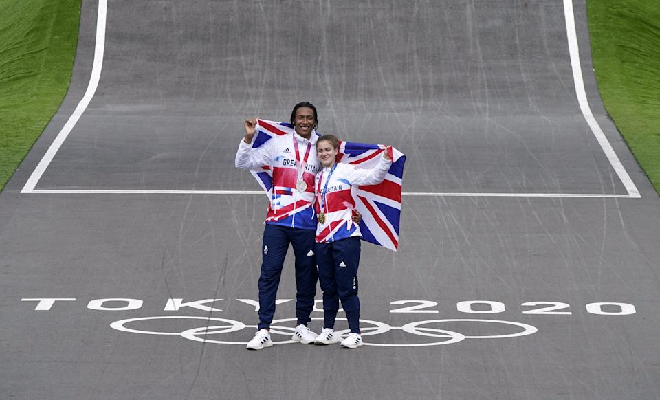 Beth Shriever and Kye Whyte celebrate on the track (Danny Lawson/PA) (PA Wire)