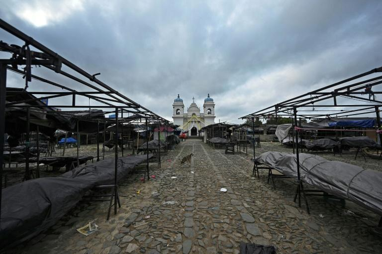 The indigenous town of San Martin Jilotepeque in Guatemala has seen shops were closed and streets deserted as 90,000 residents were confined