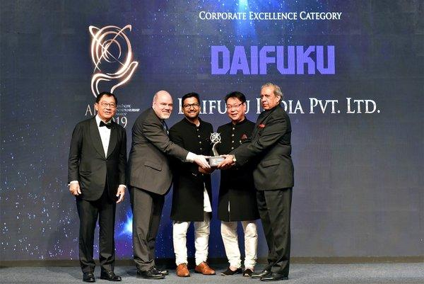 Representatives of Daifuku India Pvt. Ltd. receiving the Asia Pacific Entrepreneurship Awards 2019 India under Corporate Excellence Category