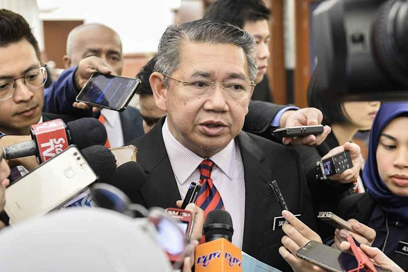 Agriculture and Agro-based Industries Minister Datuk Seri Salahuddin Ayub speaks to reporters at the Parliament lobby, November 26, 2019. ― Picture by Miera Zulyana