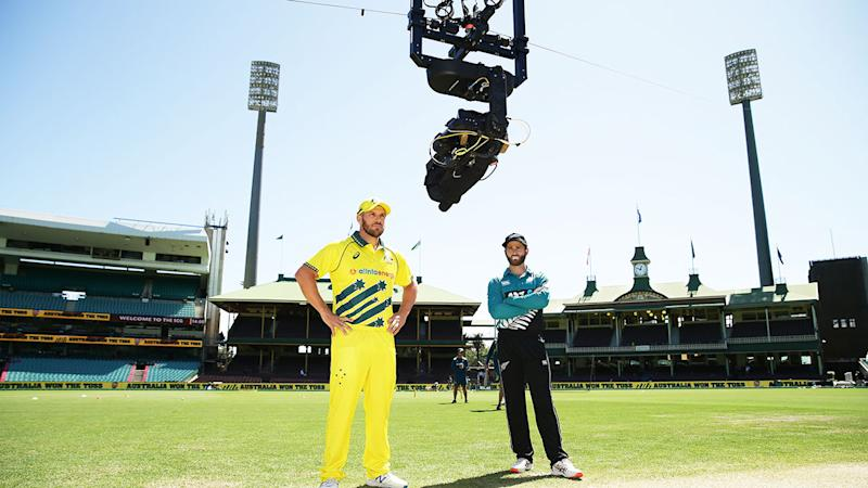 Players were interviewed on Spidercam before the match due to coronavirus. Pic: Getty