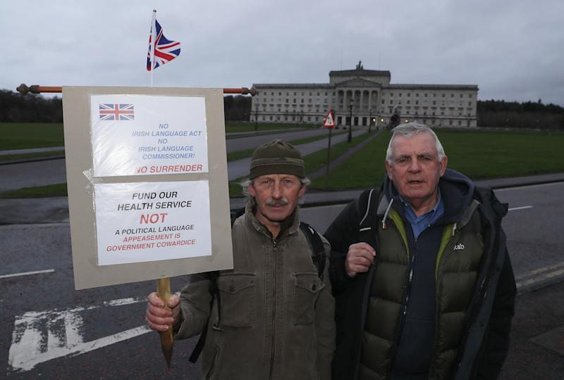 Tawf Morgan (left) and John Ross of Unite Unionists at Stormont