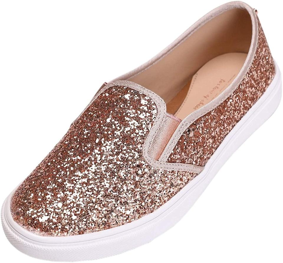 """<p>If you love sparkles, you need these <a href=""""https://www.popsugar.com/buy/Feversole-Rose-Gold-Glitter-Sneakers-512901?p_name=Feversole%20Rose%20Gold%20Glitter%20Sneakers&retailer=amazon.com&pid=512901&price=27&evar1=savvy%3Aus&evar9=45342302&evar98=https%3A%2F%2Fwww.popsugar.com%2Fsmart-living%2Fphoto-gallery%2F45342302%2Fimage%2F46883438%2FFeversole-Rose-Gold-Glitter-Sneakers&list1=shopping%2Cgifts%2Choliday%2Cchristmas%2Cgift%20guide%2Cgifts%20for%20women&prop13=mobile&pdata=1"""" rel=""""nofollow noopener"""" class=""""link rapid-noclick-resp"""" target=""""_blank"""" data-ylk=""""slk:Feversole Rose Gold Glitter Sneakers"""">Feversole Rose Gold Glitter Sneakers</a> ($27).</p>"""