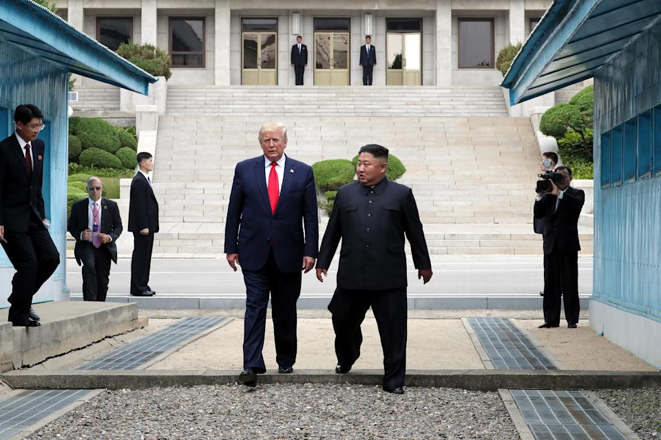 US President Donald Trump, left, and North Korean leader Kim Jong Un maintained a seemingly good relationship and met on numerous occasions. Source: Getty Images