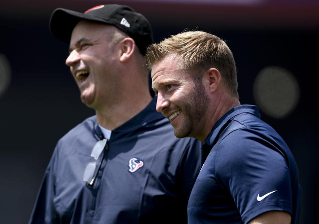 Teams are desperate to clone Los Angeles Rams head coach Sean McVay (right), shown here with Houston Texans head coach Bill O'Brien. (AP)
