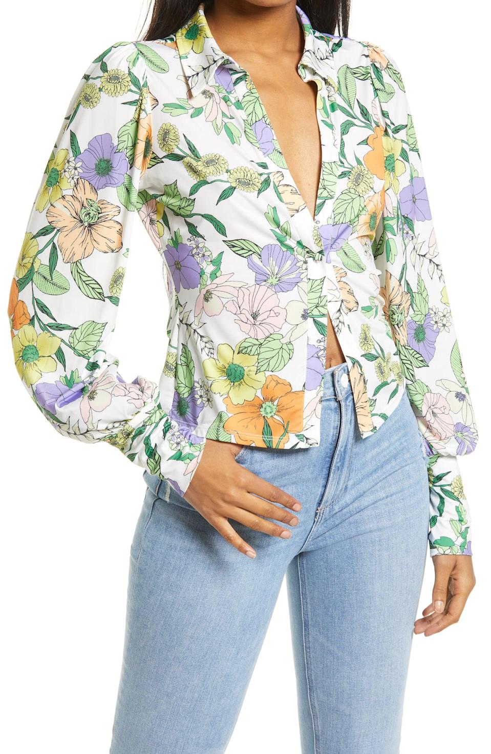 <p>This <span>AFRM Zayne Tie Dye Print Blouse</span> ($58) is so visually striking, you will attract tons of compliments when wearing it, no doubt!</p>