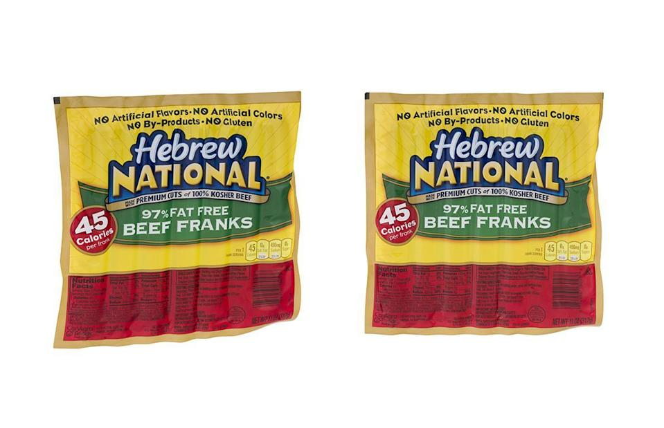 """<p>Calories: 45<br>Fat: 1 gram<br>Sodium: 490 milligrams<br>Cholesterol: 15 milligrams</p> <p>Hebrew National 97% Fat Free Beef Franks are primarily kosher beef, water and modified potato starch, which is used to add stability, texture or viscosity. The hot dogs contain no artificial flavors, artificial colors or animal by-products. When shopping for low-fat products, realize they may rely on fillers — like potato starch — to keep the calorie count low. While the nutrition facts seem promising, these products can be among those <a href=""""https://www.thedailymeal.com/healthy-eating/misleading-healthy-foods?referrer=yahoo&category=beauty_food&include_utm=1&utm_medium=referral&utm_source=yahoo&utm_campaign=feed"""" rel=""""nofollow noopener"""" target=""""_blank"""" data-ylk=""""slk:so-called healthy foods you may want to avoid"""" class=""""link rapid-noclick-resp"""">so-called healthy foods you may want to avoid</a>.</p>"""