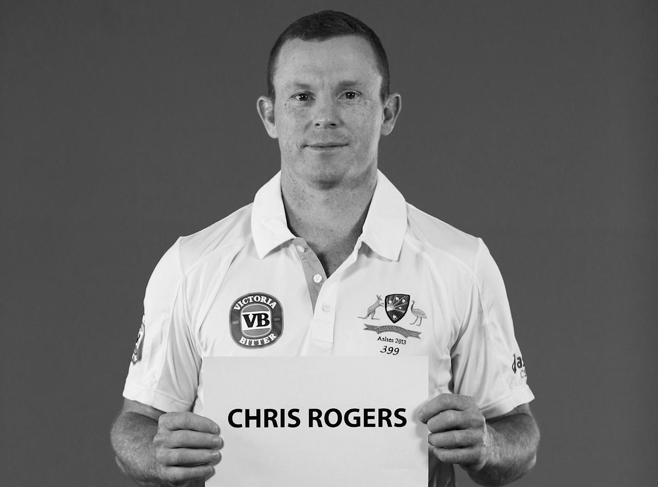 WORCESTER, ENGLAND - JULY 01:  (EDITORS NOTE: Image has been converted to black and white) Chris Rogers of Australia looks on during a filming session on July 1, 2013 in Worcester, England.  (Photo by Ryan Pierse/Getty Images)