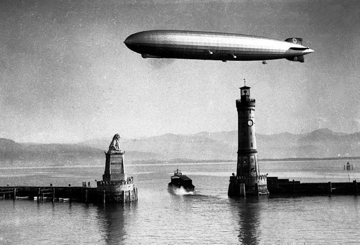 """<p>German zeppelin the """"Hindenburg"""" making a test flight in 1936. (Popperfoto/Getty Images) </p>"""