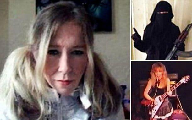 Sally Jones appears in a selfie before she left for Syria, in a burqa with a gun (top right) and performing in a punk rock band (bottom right) - Twitter
