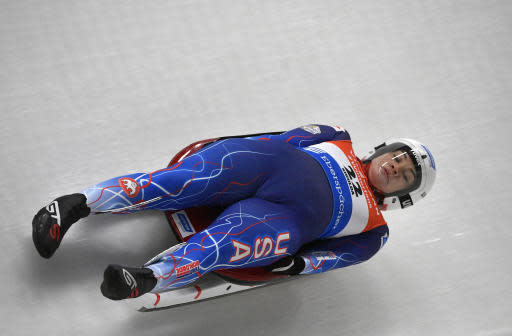 Summer Britcher of United States speeds down the track during a women's race at the Luge World Cup event in Sigulda, Latvia, Saturday, Jan. 12, 2019. (AP Photo/Roman Koksarov)