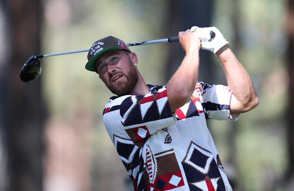 SOUTH LAKE TAHOE, NEVADA - JULY 10: NFL athlete Travis Kelce tees off on the second hole during round two of the American Century Championship at Edgewood Tahoe South golf course on July 10, 2020 in South Lake Tahoe, Nevada.  (Photo by Jed Jacobsohn/Getty Images)