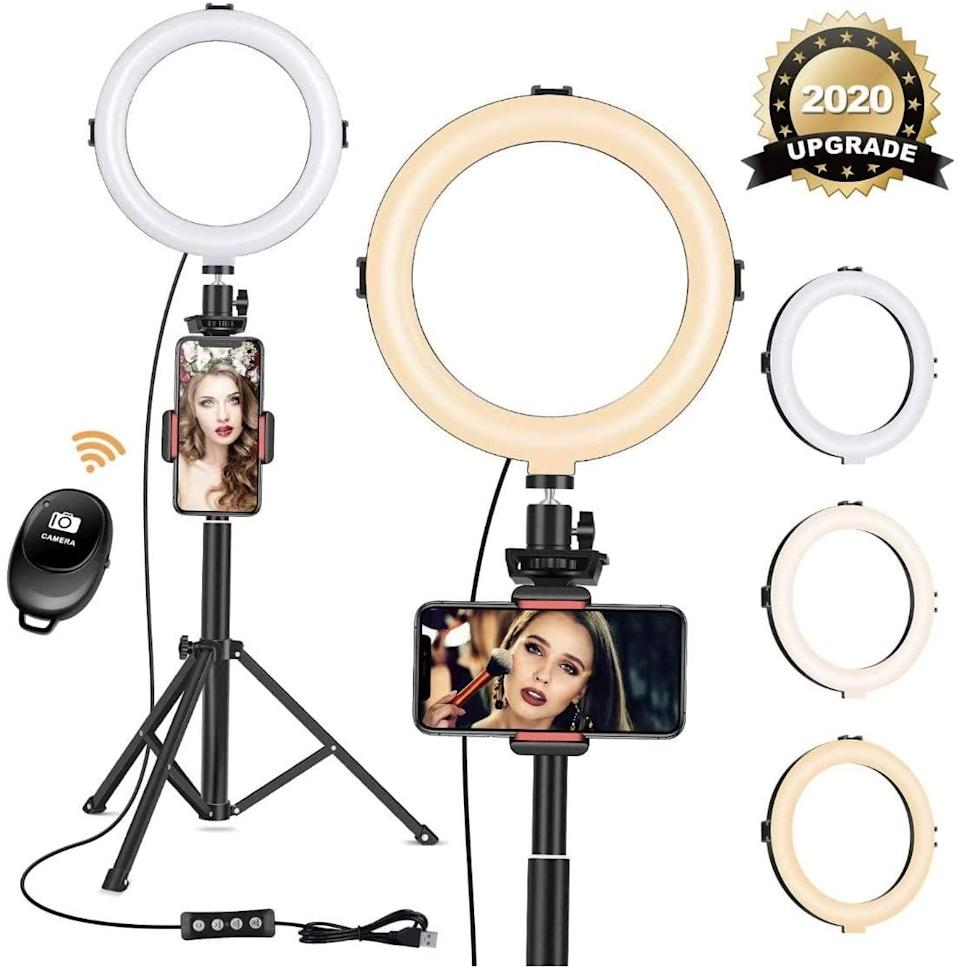 """<p>The <span>8"""" Ring Light With Tripod Phone Stand</span> ($27) is perfect for the social media mavens.</p>"""