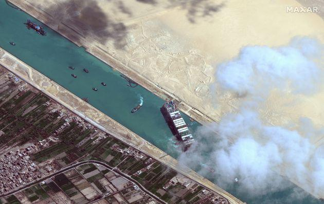 The Ever Given was stuck in the Suez Canal for a grand total of six long, embarrassing days (Photo: DigitalGlobe/ScapeWare3d via Getty Images)