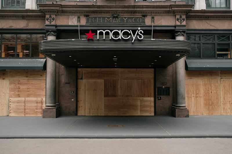 NEW YORK, NY - JUNE 02: The Macy's flagship store is seen boarded up after a night of violent protests and looting in Midtown, Manhattan on June 2, 2020 in New York City. In spite of a police-enforced 11pm curfew, dozens of shops were ransacked during the previous evening's violent clashes between the NYPD and protesters demanding justice for George Floyd, an unarmed black man killed by law enforcement in Minneapolis on May 25th. (Photo by Scott Heins/Getty Images)