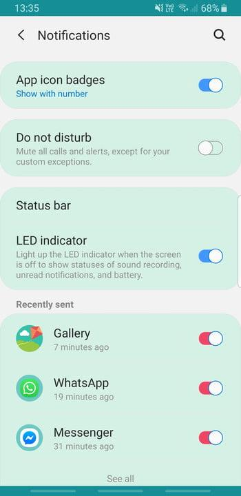 Screenshot of Samsung Galaxy S8 App icon badges settings