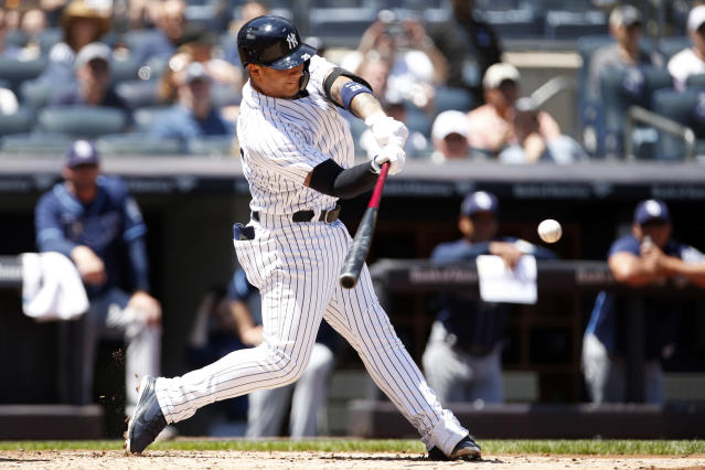 "Hotshot rookie <a class=""link rapid-noclick-resp"" href=""/mlb/players/10236/"" data-ylk=""slk:Gleyber Torres"">Gleyber Torres</a> still hits in the lower third of the Yankees lineup, for now. (AP Photo/Adam Hunger)"
