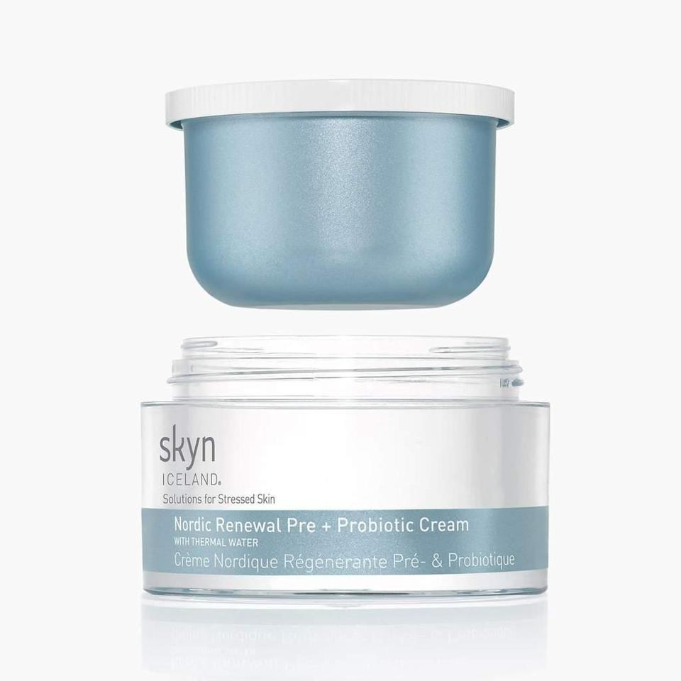 """Made with a mission to wake up dull skin, Skyn Iceland Nordic Renewal Pre + Probiotic Cream employs mineral-rich thermal water, hydration-holding hyaluronic acid, and, of course, the titular prebiotics and probiotics to promote balance and brightness. And thanks to its <a href=""""https://shop-links.co/1736447766114243743"""" rel=""""nofollow noopener"""" target=""""_blank"""" data-ylk=""""slk:little $40 refill pods"""" class=""""link rapid-noclick-resp"""">little $40 refill pods</a>, which plop right into the transparent jar, it also promotes a more sustainable skin-care routine."""
