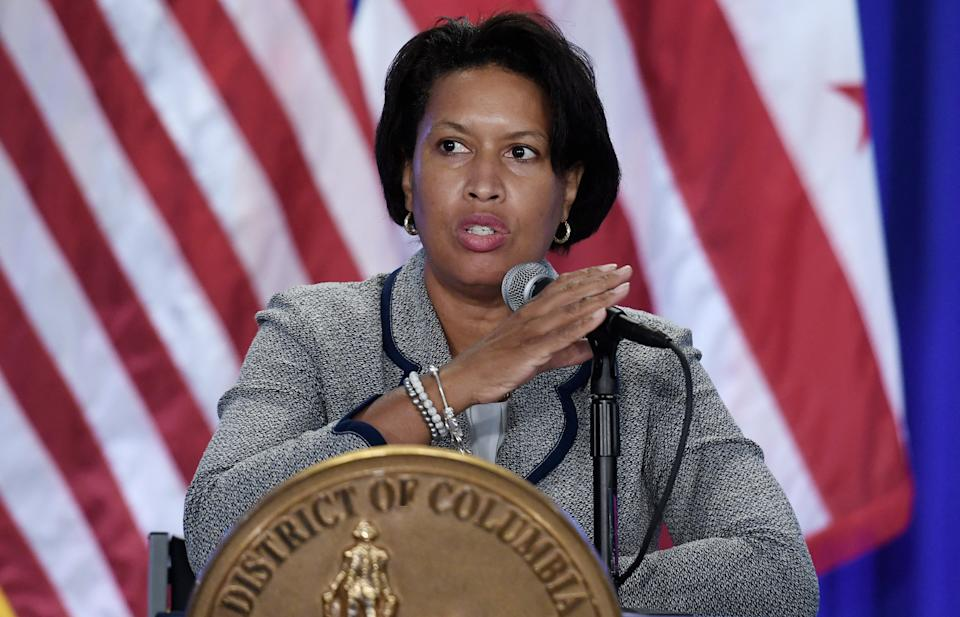 DC Mayor Muriel Browser speaks during a public safety briefing at the Marion S. Barry, Jr., Building in Washington, DC, on July 28, 2021. (Olivier Douliery/AFP via Getty Images)