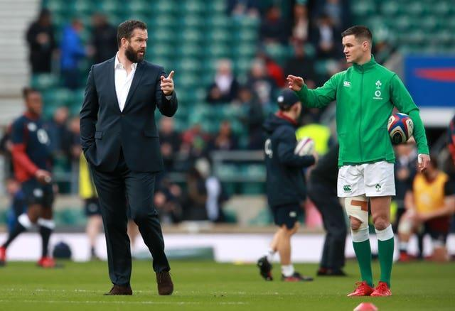 Ireland head coach Andy Farrell, left, is boosted by the return of fly-half Johnny Sexton, right