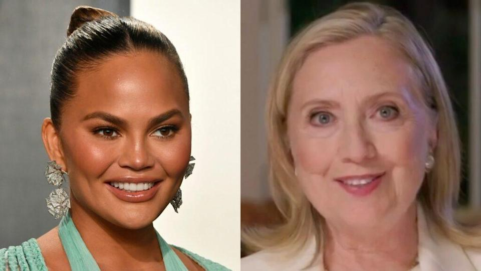 Chrissy Teigen (left) penned a personal essay on Medium.com about her recent ill-fated pregnancy that got the attention of former first lady and Secretary of State Hillary Clinton (right). (Photos by Frazer Harrison/Getty Images and DNCC via Getty Images)
