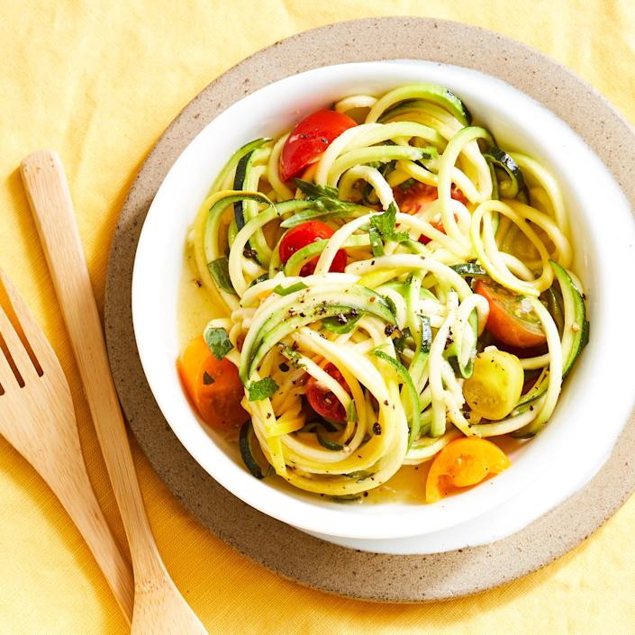"""<p>Find squash """"noodles"""" with other precut fruits and veggies in your supermarket's produce section if you don't want to spiralize them yourself.</p>"""