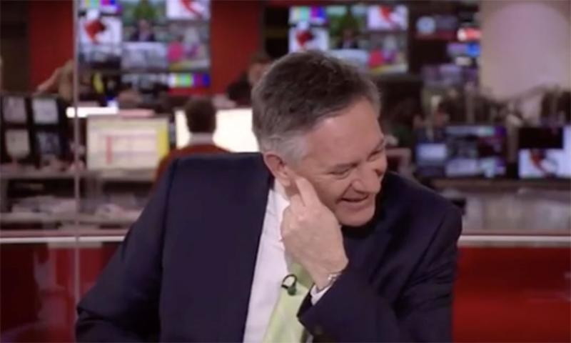 Simon McCoy burst into laughter mid-way through his report. (BBC)