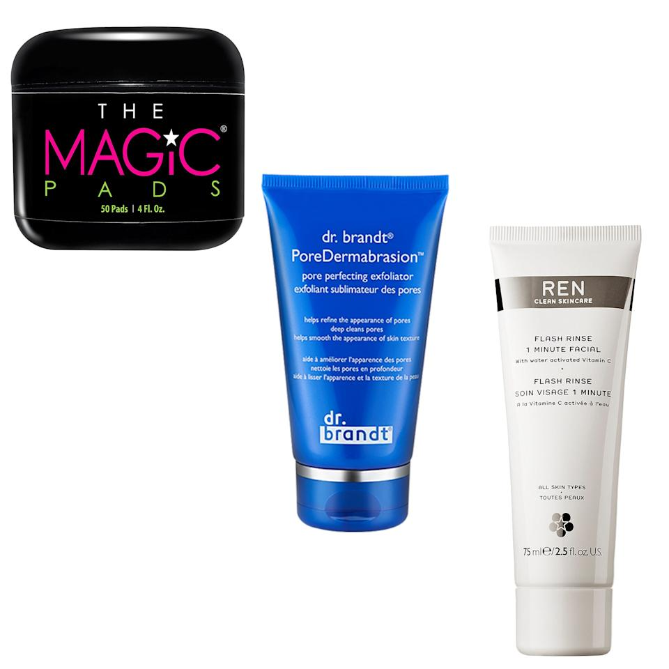 """<p><b><a rel=""""nofollow"""" href=""""https://www.beautybar.com/p/the-magic-pads-glycolic-acid-pads-50-1226189?mbid=synd_yahoobeauty"""">The Magic Pads</a></b>. """"These glycerin and glycolic-acid pads are my secret to glow-y, plump, youthified skin. And, unlike other <a rel=""""nofollow"""" href=""""http://www.allure.com/gallery/at-home-brightening-peel-pads-for-acne-scars?mbid=synd_yahoobeauty"""">peel pads</a>, they're actually affordable — and gentle — enough to use every single morning."""" - <em>Jessica Chia, senior beauty editor</em></p><p><b><a rel=""""nofollow"""" href=""""http://www.allure.com/review/dr-brandt-pore-dermabrasion-pore-perfecting-facial-exfoliator?mbid=synd_yahoobeauty"""">Dr. Brandt PoreDermabrasion</a></b>. """"I love to gently exfoliate once a week and this ultra-fine-grain polish leaves my skin super smooth after a quick 1-minute scrub."""" — <em>Michelle Lee,editor in chief</em></p><p><b><a rel=""""nofollow"""" href=""""http://www.sephora.com/flash-rinse-1-minute-facial-P387947?mbid=synd_yahoobeauty"""">Ren Flash Rinse One Minute Facial</a></b>. """"I could sit around for hours in face masks and consider that a pretty perfect day. But I do occasionally have places to be. And that's when I really love this fast-acting vitamin C mask; it only takes one minute to make my skin noticeably glow-y."""" - <em>Elizabeth Siegel, deputy beauty director</em></p>"""