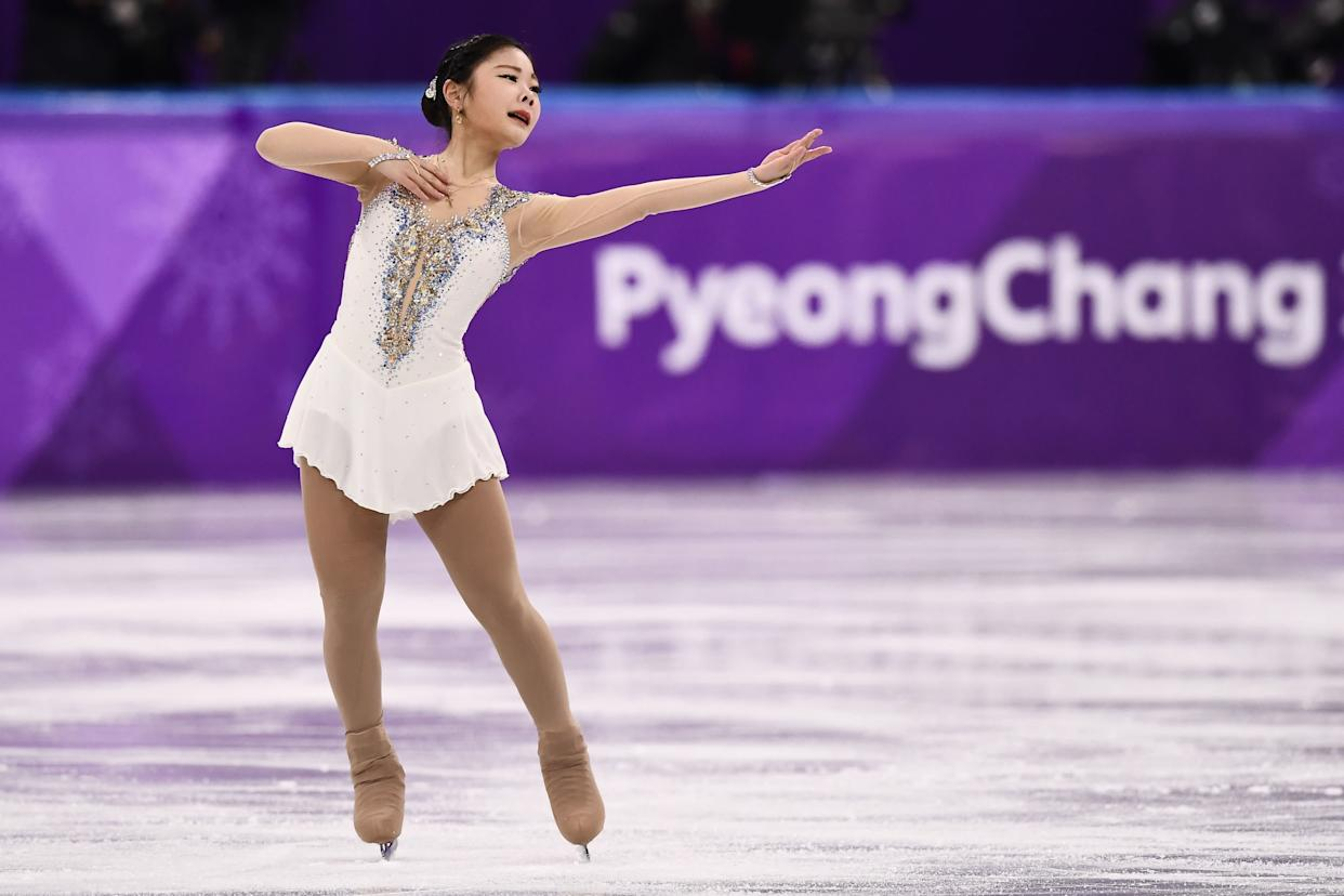 The South Korean skater wore this white ensemble for the women's single free skating portion of the games, and it's just plain pretty.