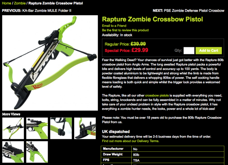 The crossbow as it appears on the website (Hunters Knives)
