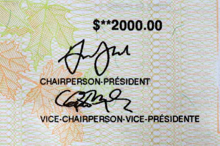 Part of a cheque for the $2,000 Canada Emergency Response Benefit (CERB)